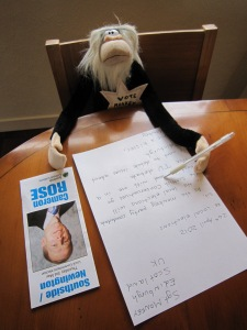 Our wee monkey spent the afternoon in his office writing letters and emails.