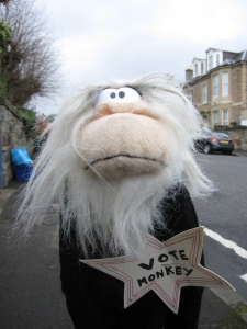 Our wee monkey was out on the streets of Edinburgh today campaigning.
