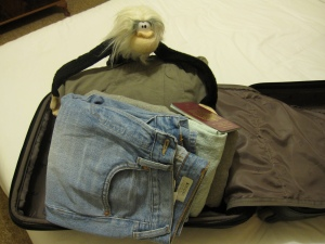 Me packing for my trip to Moscow.