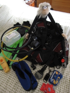Me packing my scuba diving gear.