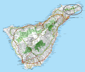 A map of Tenerife with a circle highlighting the Macizo de Anaga range.