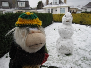 Me next to my snowman.
