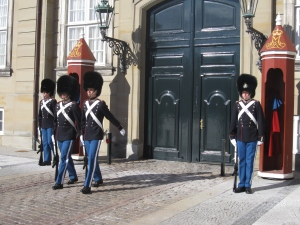 Eventually two of the guards were out witted by the excessive staring and marched off!