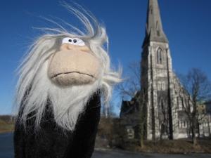 Monkey at St. Alban's church in Copenhagen.