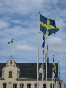 The Swedish flags outside the City Hall.