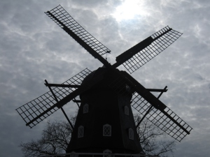 This charming windmill is in the park near the castle.