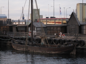 A Viking boat in the harbour.