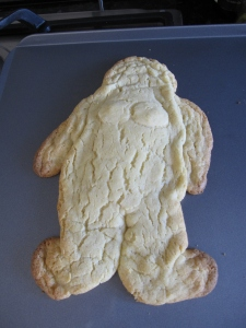 My beautiful naked girl became a fat lady after baking.