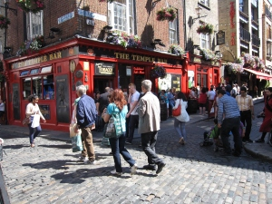 Temple Bar is popular with tourists.