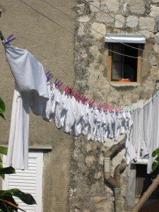 Laundry underwear on the city walls walk.