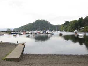 The harbour and boat yard on Loch Lomond at Balmaha.