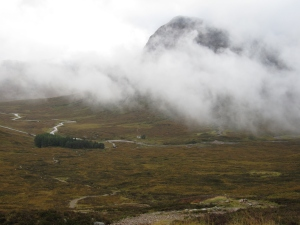 The view of Glencoe from the top of the Devil's Staircase.