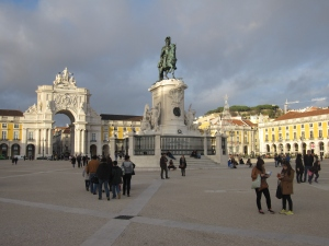 View of the statue of King José I and the arch in the famous Terreiro do Paço.