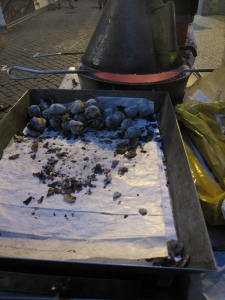 Roasted chestnuts a tradition in Portugal and Spain.