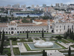 The Monastery of the Jeronimos can be seen across the gardens.