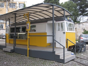 This cafe was a traditional yellow tram.