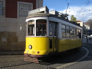 The iconic ancient tram of modern Lisbon.
