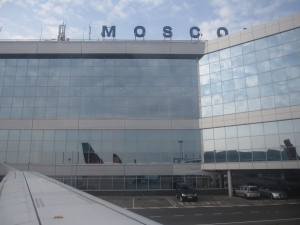Arriving at Moscow's Domodedovo Airport.