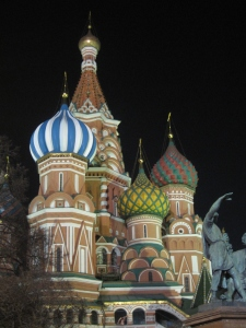 Saint Basil's Cathedral at night.