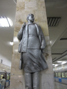 One of the statues of the Moscow Metro.