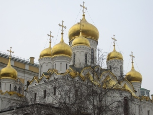 One of the four cathedrals inside the Kremlin.