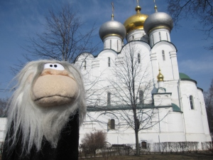 Me posing in front of the Cathedral of Our Lady of Smolensk.