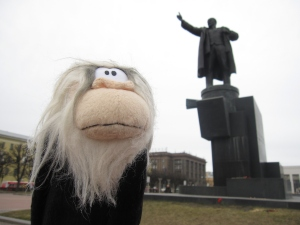 Me posing in front of Lenin's statue.