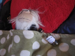 Having a whisky before beddy times.