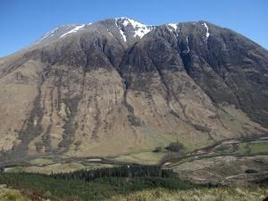 The snowy peak of Ben Nevis.