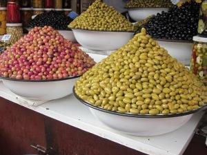 Olive stalls in the market souks.
