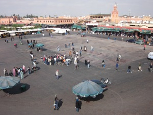 The Jemaa el-Fnaa square during the day.