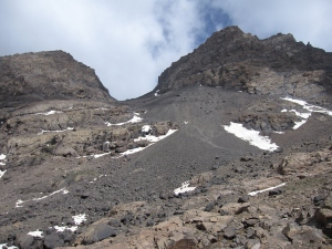 Looking up the scree slope from the refuge.