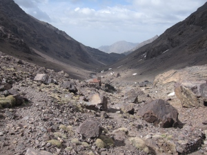 Looking down the scree slope.