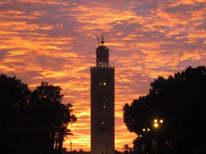 The sun sets over Marrakesh.