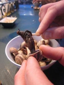 Having snails for my dinner.