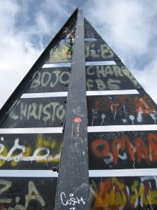 The graffiti metal pyramid.