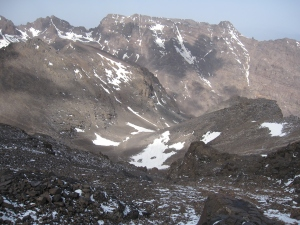 Looking down from the col.