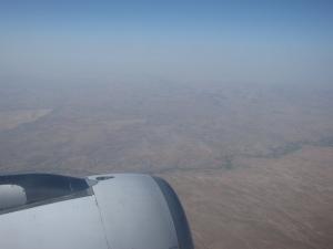 Flying over the desert.