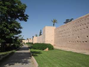 The old city walls of Marrakesh.