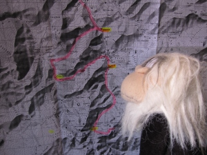 I was studying my proposed route on the map.