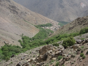 The village of Imlil coming into view.