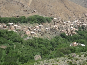 The village of Imlil in the valley.