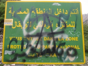 A sign marking the entrance to Toubkal National Park.