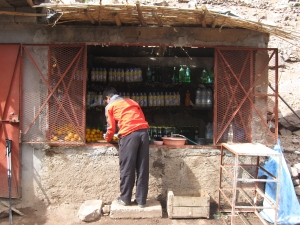 A drinks stall at Sidi Chamharouch.