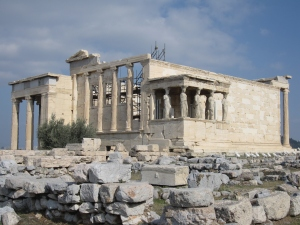 The Erechtheion is an ancient Greek temple on the north side of the Acropolis.