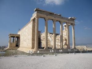 The Erechtheion is a temple dedicated to both Athena and Poseidon.