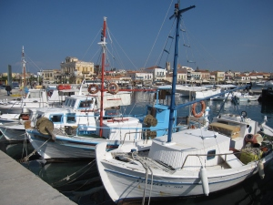 Old fishing boats in Aegina harbour.