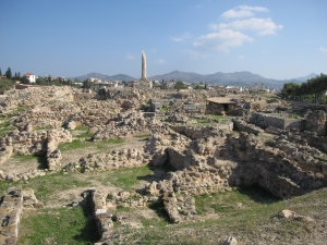 The ruins of the ancient settlement.