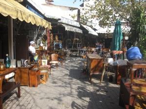 The many stalls of Monastiraki Flea Market at Avissynias Square.
