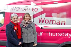 Harriet Harman joined Labour candidate for Wirral West Margaret Greenwood with the party's pink bus.